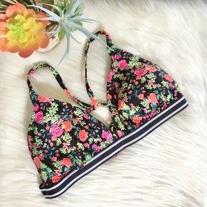 Xhilaration Rose Floral Bikini Top Size DD